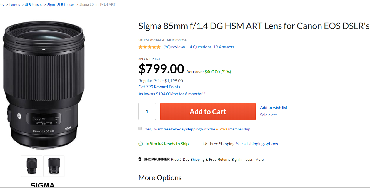2019 Black Friday Deals Sigma 85mm F 1 4 Art For 799 150 600mm F 5 6 3 C For 649 Canon Camera Rumors