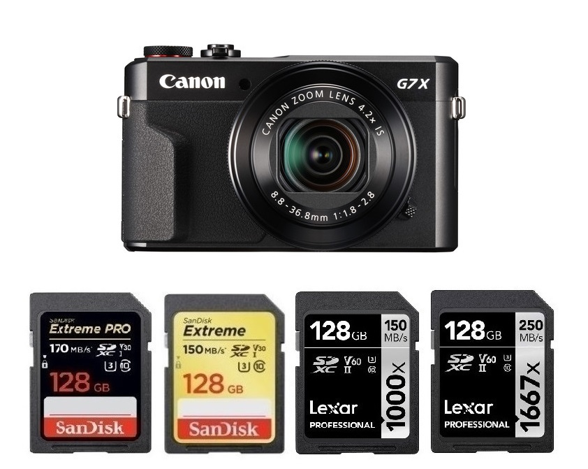 IXUS 170 IXUS 275 HS PS GS X /& Canon XC10 IXUS 160 IXUS 165 Digi-Chip 128 GO 128GB CLASS 10 SD SDXC Carte M/émoire pour Canon Powershot G7 X